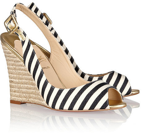 Christian Louboutin Puglia 100 striped canvas espadrille slingbacks