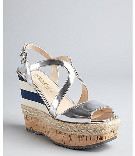 Prada silver mirrored leather espadrille cork wedges