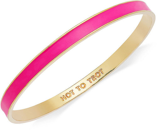 "kate spade new york Bracelet, Gold-Tone Fluorescent Pink ""Hot to Trot"" Idiom Bangle Bracelet"