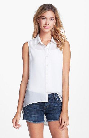 Research & Design Lace Back Sleeveless Blouse Whisper White Medium