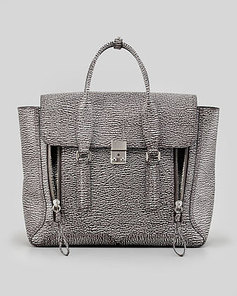 3.1 Phillip Lim Pashli Two-Tone Zip Satchel Bag, White/Black