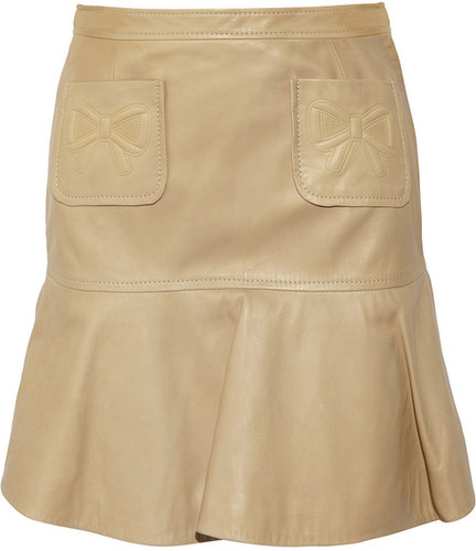 RED Valentino Pleated leather skirt