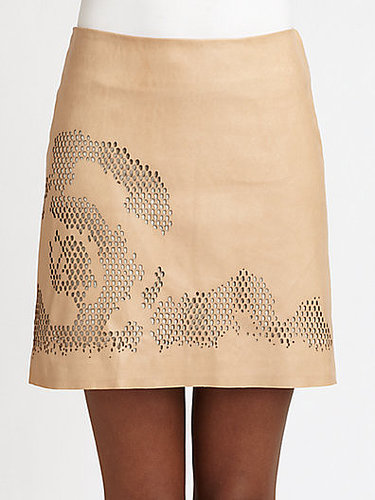 Halston Heritage Laser-Cut Leather Skirt