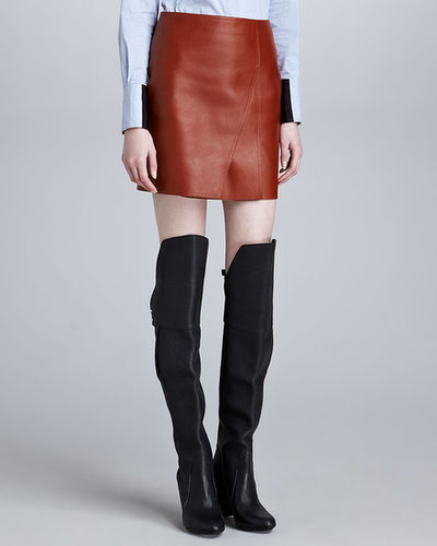 3.1 Phillip Lim Layered Leather Miniskirt, Cognac