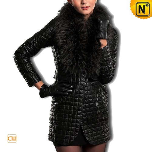 Black Quilted Leather Coat CW610045 - cwmalls.com
