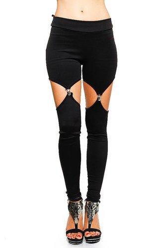 Solid Black Garter Leggings