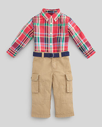 Ralph Lauren Plaid Oxford Shirt & Ripstop Cargo Pants Set, 3-9 Months