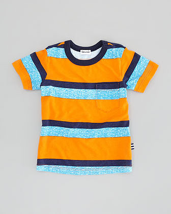 Splendid Littles Asher Striped Jersey Tee, Orange, Sizes 2T-4T