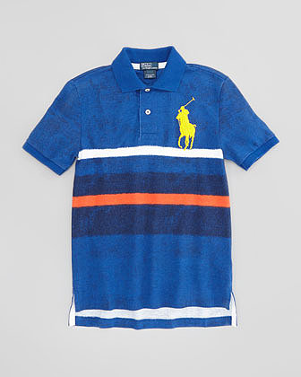 Ralph Lauren Striped Mesh Polo Shirt, French Navy, XL