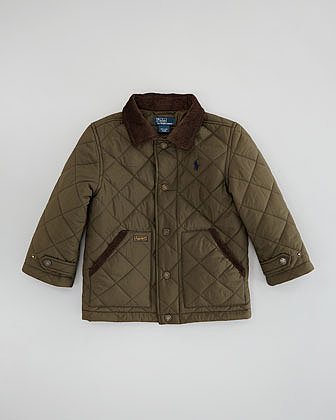 Ralph Lauren Childrenswear New Hagan Quilted Jacket, Dark Olive, Sizes 2-3
