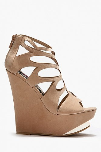 Doll House Gold Accent Cut Out Nubuck Wedges