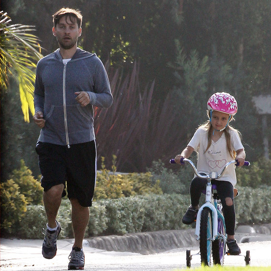 Tobey Maguire Running With His Daughter