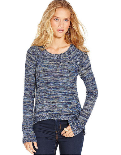 Planet Gold Juniors Sweater, Long Sleeve Marled Knit High-Low
