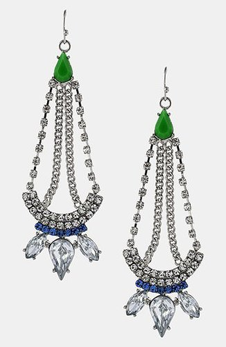 Jessica Simpson 'Tropic Nights' Chandelier Earrings Clear Green Blue