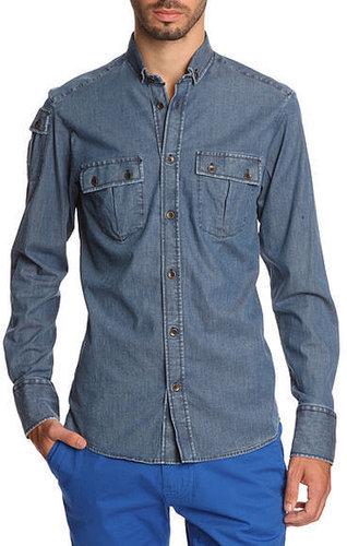 Chemise en jean bleu clair Patten JOHNNYLOVE, pour homme - Chemises Cintrées