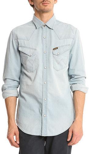 Chemise Slim bleached en jean Western WRANGLER, pour homme - Chemises Cintrées