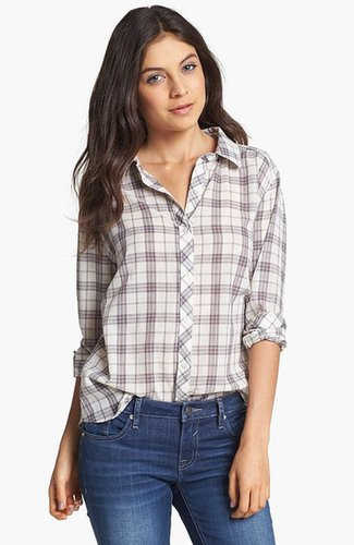 Rubbish Plaid Collared Shirt (Juniors) (Online Only) Humble Plaid Cream- Bone X-Small