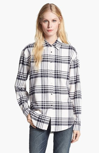 Elizabeth and James 'Pam' Plaid Flannel Shirt Ivory Big Plaid Large