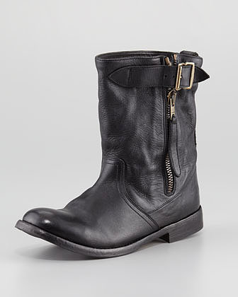 Burberry Slouchy Shearling-Lined Moto Boot