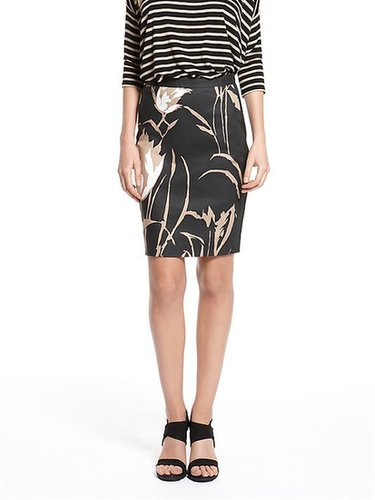 Ava Floral Print Coated Cotton Twill Pencil Skirt With Solid Side Seams