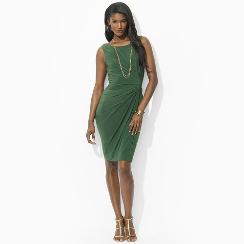 Ralph Lauren Drape-Front Matte Jersey Dress