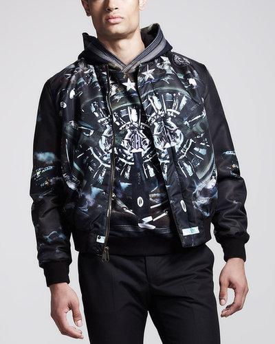 Givenchy Plane-Print Reversible Bomber Jacket