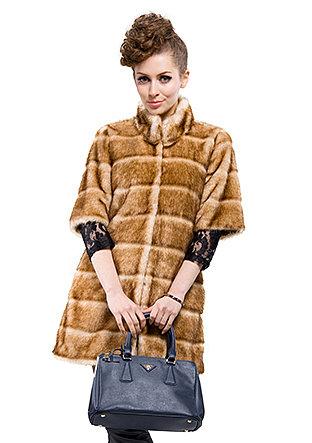 Fashion light coffee faux mink fur collar|woman long coat|free shipping