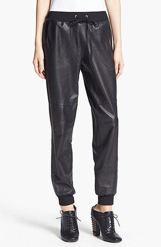 Elizabeth and James 'Kacey' Leather Sweatpants Womens Black Size Large Large