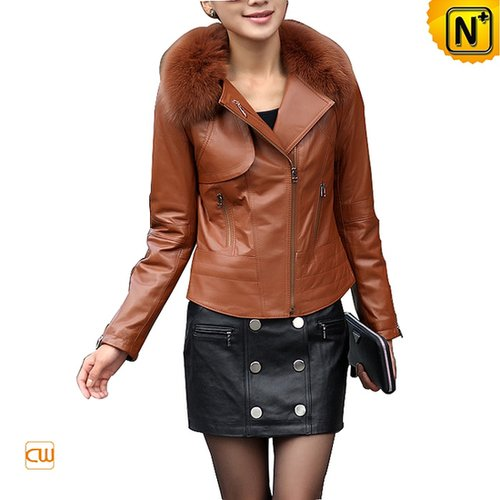 Women Cropped Leather Jacket CW669811 - cwmalls.com