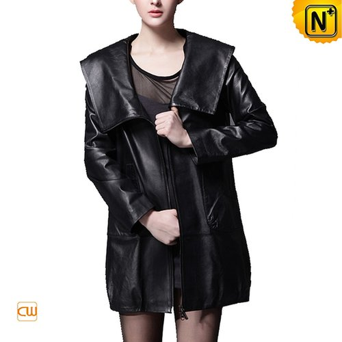 Women Hooded Leather Coat Black CW669029 - cwmalls.com