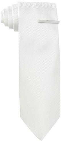 Little Black Tie Men's Dimension Solid Necktie With Added Tie Bar
