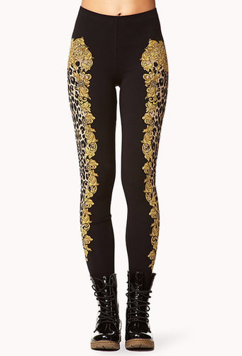 FOREVER 21 Framed Leopard Print Leggings