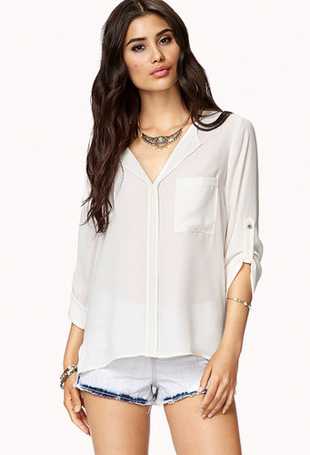 FOREVER 21 High-Low Button Tab Blouse