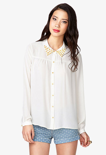 FOREVER 21 Bolt Studded Georgette Shirt