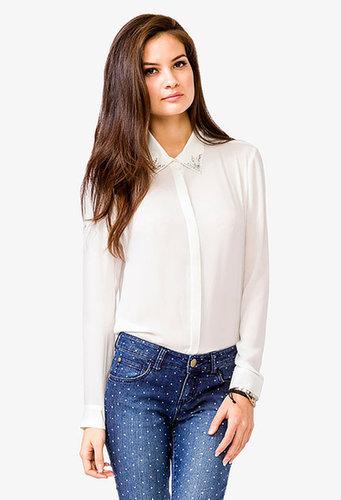 FOREVER 21 Rhinestoned Collar Chiffon Shirt