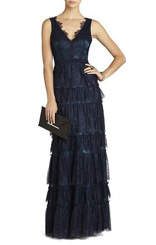 BCBG LILIAN V-NECK LACE GOWN