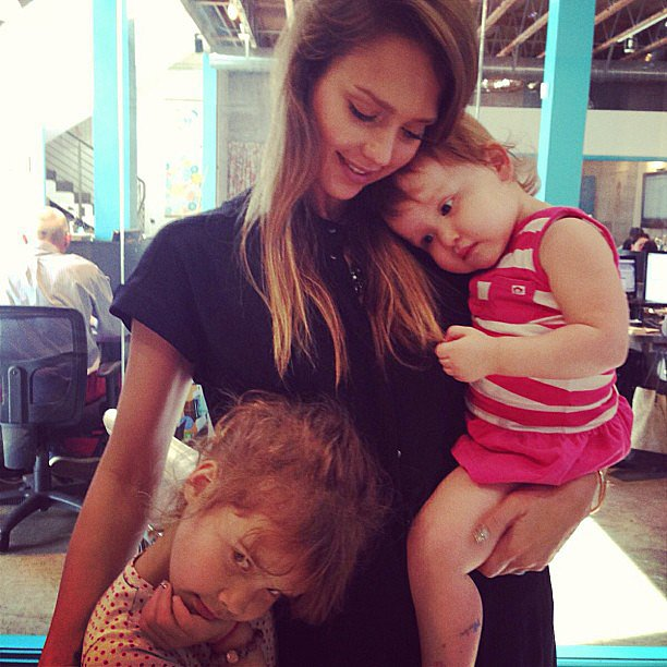 Jessica Alba shared a tender moment with her daughters, Haven and Honor. Source: Instagram user jessicaalba