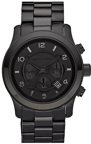 Michael Kors 'Large Runway' Blacked Out Chronograph Watch, 45mm Black One Size