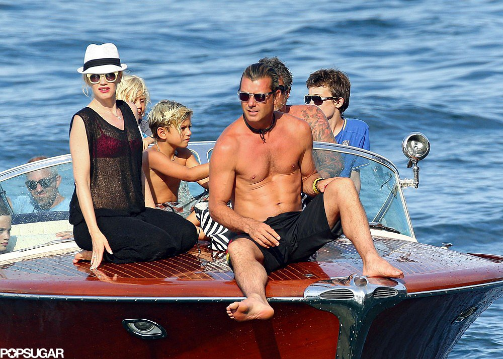 Gwen Stefani relaxed on a boat with her husband, Gavin Rossdale, and her two boys, Kingston and Zuma, off the coast of France on Sunday.