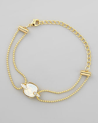 Chamak by Priya Kakkar Double-Stranded Crystal Ball Chain Bracelet, Clear