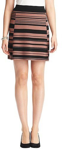 Striped Compact Knit Elastic Waist Skirt