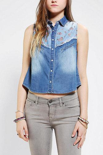 Pins And Needles Lace-Back Sleeveless Chambray Shirt