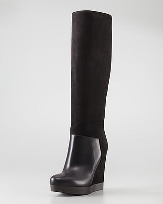 Vince Vivian Leather & Nubuck Wedge Knee Boot, Black