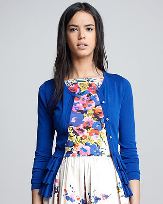 RED Valentino Ruffed Peplum Cardigan, Blue