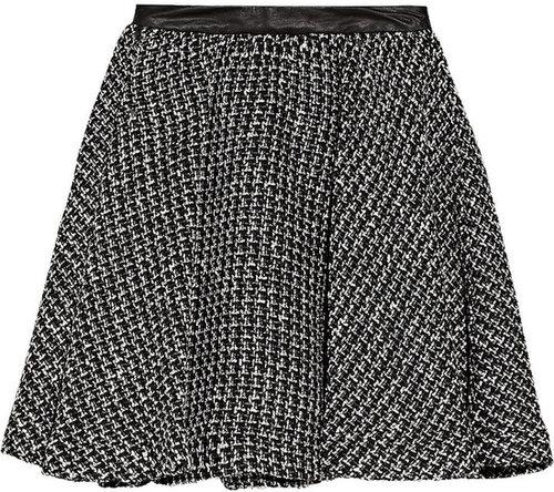 Alice + Olivia Audra leather-trimmed tweed mini skirt