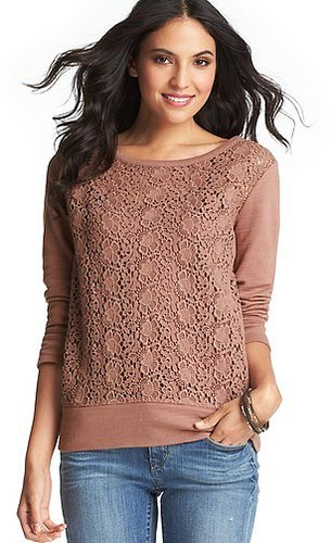 Lace Front Cotton Terry Sweatshirt