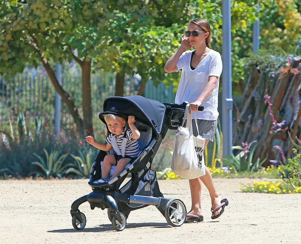 Natalie Portman pushed Aleph Millepied in his stroller at the Natural History Museum.
