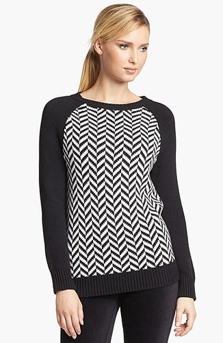 MICHAEL Michael Kors Herringbone High/Low Sweater (Regular & Petite) White Small
