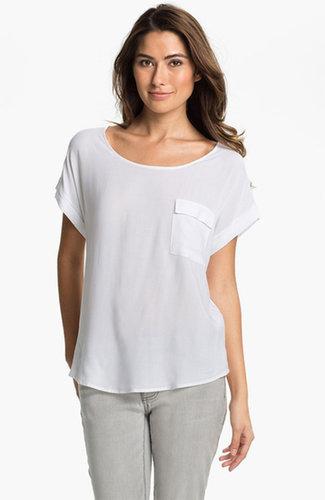 Pleione Short Sleeve Mix Media Blouse White X-Large