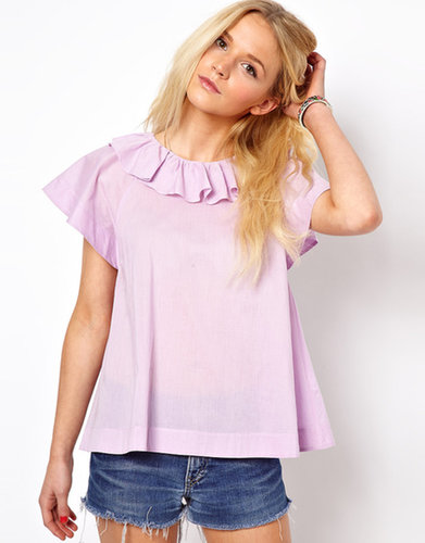ASOS Blouse With Ruffle Collar And Fluted Sleeve